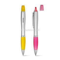 עט כדורי עם טוש מדגיש
