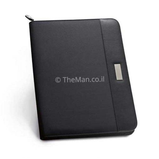 תיקיית A4 שחורה דמוי עור בשילוב מיקרו פייבר נוחה ושימושית, מתאימה כמתנה לכנסים