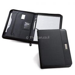 תיקייה A4 שחורה דמוי עור בשילוב מיקרו פייבר נוחה ושימושית, מתאימה כמתנה לכנסים