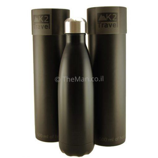 בקבוק טרמי תרמי שחור עם קופסה