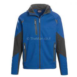 מעיל סופטשל של LANDWAY, צבע כחול קובלט עם שחור להשיג אצל האיש החשוב כמתנות לעובדים עם מיתוג