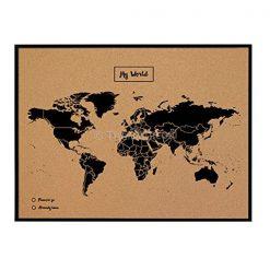 מפת עולם עם מסגרת שחורה
