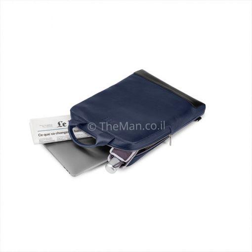 תיק עור כחול למחשב נייד