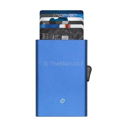 CARDHOLDER-BLUE1 ארנק לכרטיסי אשראי עם פטנט ייחודי